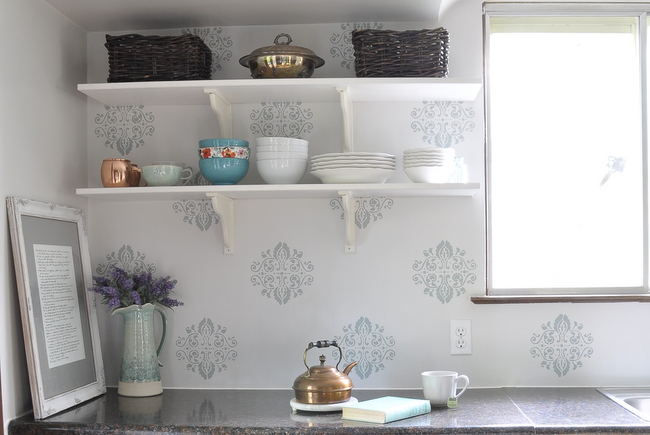 french country stencil open kitchen shelves