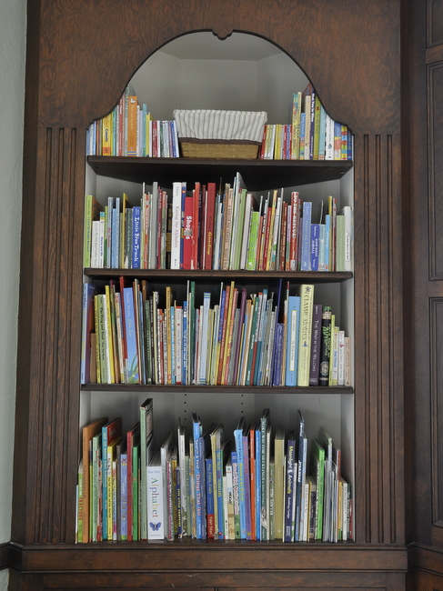 wooden built in bookcase