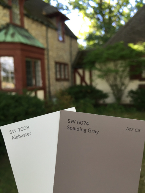 Our new paint colors are Sherwin Williams Alabaster and Spalding Gray.