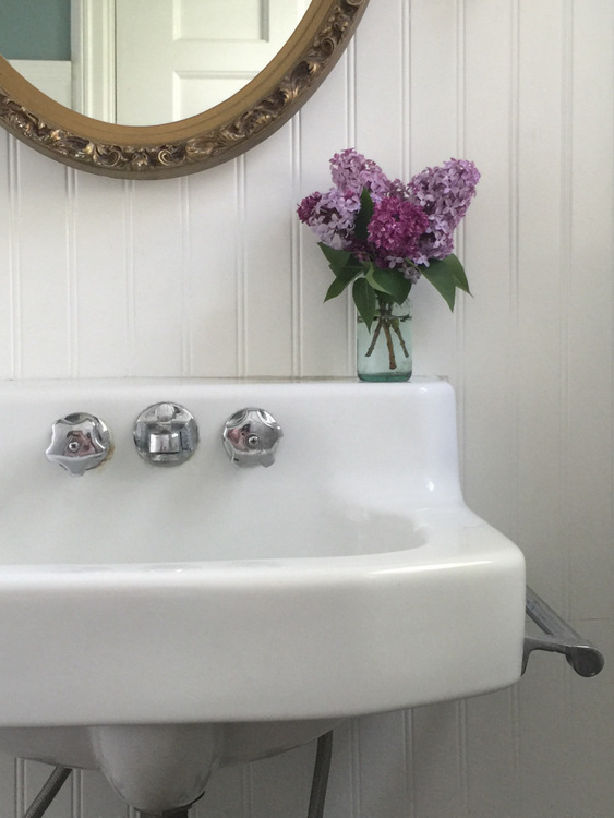 We found our vintage bathroom sink on Craigslist for a fantastic price!