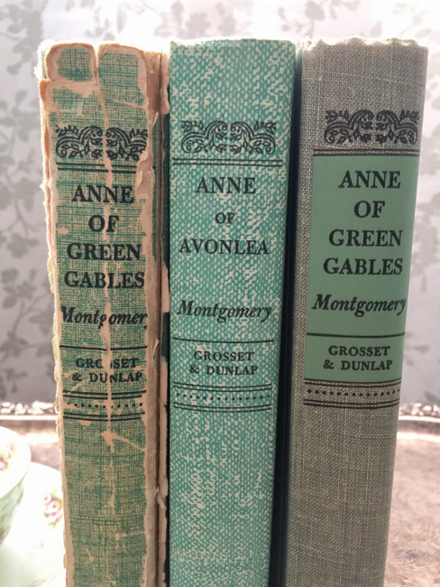 Anne of Green Gables is my favorite book. The book on the left was my mom's when she was a little girl. The other two books were a Mother's Day present from my husband when I was pregnant with our daughter. I love the covers of old vintage books!