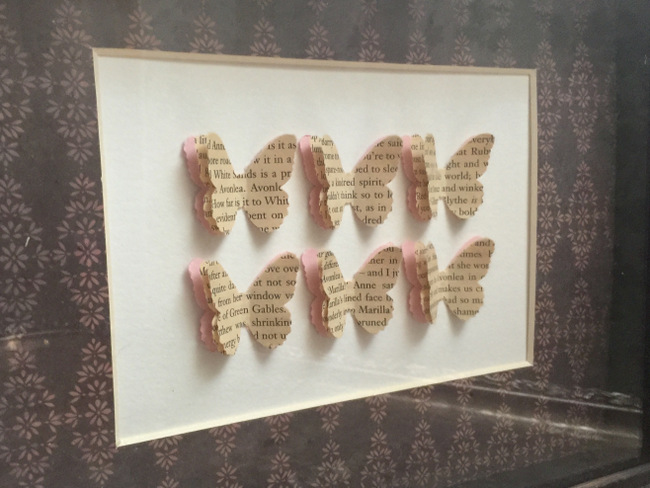 These butterflies were made using pages from an Anne of Green Gables book.