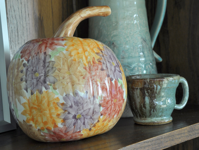 This gorgeous pumpkin is created by the artist Jan Pugh of Packer Creek Pottery.