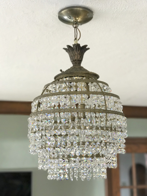 and crystal clear htm prism chandelier blue item