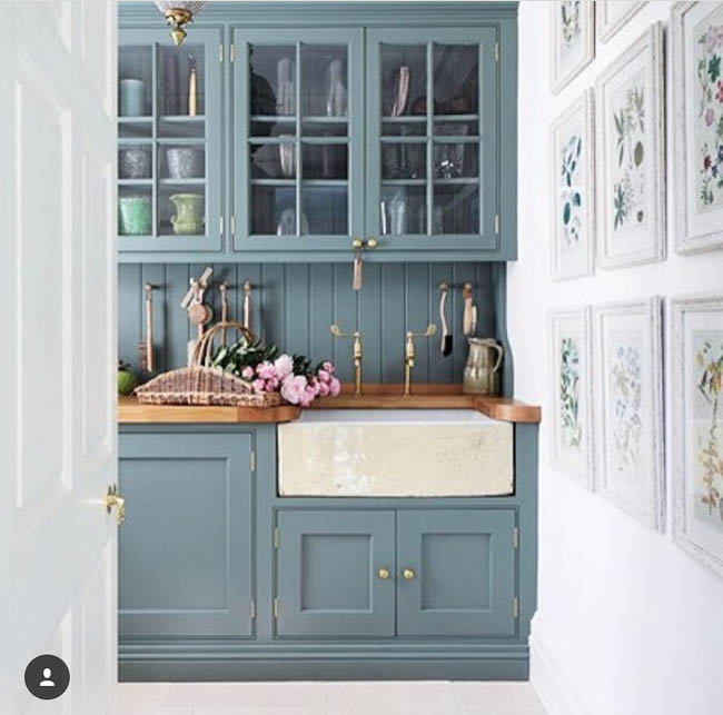 The paint color on these cabinets is dreamy!