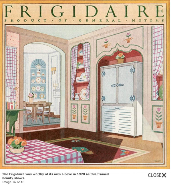 A 1928 advertisement with an arched nook for the refrigerator.